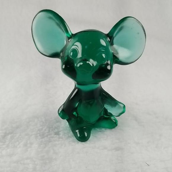 Fenton Other - FENTON GREEN GLASS MOUSE #E2
